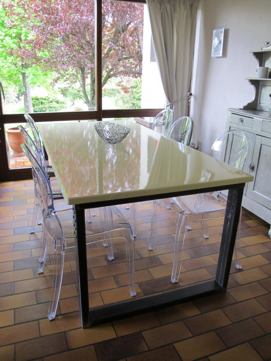 la forge de Taranis  Piètement de table pour plateau en lave émaillée -> Plateau De Table Occasion Lave
